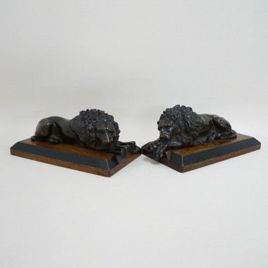 Pair Bronze Lions